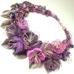 Купить Ежевичный Блюз. Колье из натуральных камней, цветы из ткани - комбинированный, фуксия, фиолетовый, сливовый