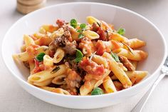 Take advantage of the beautiful flavour of thick lamb sausages and add them to tonight's pasta dinner.