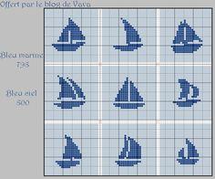 Un dernier free sur le thème de la mer avant de me mettre en vacances de frees jusque la rentrée de septembre Cette fois, il y a du vent dans les voiles A télécharger ici en PDF - bateaux à voile.pdf Deux anciens liens vers des grilles sur le même thème... Cross Stitch Sea, Simple Cross Stitch, Cross Stitch Charts, Cross Stitch Designs, Cross Stitch Patterns, Baby Boy Knitting Patterns, Knitting Charts, Cross Stitching, Cross Stitch Embroidery