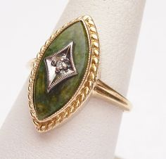 10kt Jade and Diamond Marquise Ring 1960s by KlinesJewelry on Etsy, $150.00