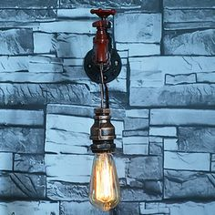 (42.54$)  Watch now - http://ain37.worlditems.win/all/product.php?id=32728994469 - Creative Iron Water Pipe Vintage Loft Wall Lamp Edison Wall Sconces Bedside Lamps Fixtures For Home Lighting Bar Cafe