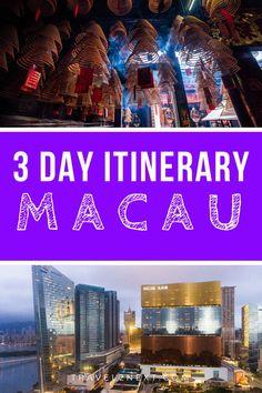 Macau Itinerary – how to spend three days. Macau Itinerary – how to spend three days. Macau Travel, Asia Travel, Travel Destinations, Travel Tips, Travel Stuff, Travel Guides, Backpacking Asia, Three Days, Summer Activities