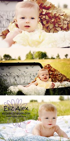 Love the vintage suitcase with baby inside <3