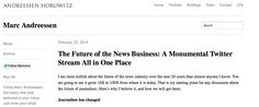 Marc Andreessen: The Future of the News Business: A Monumental Twitter Stream All in One Place