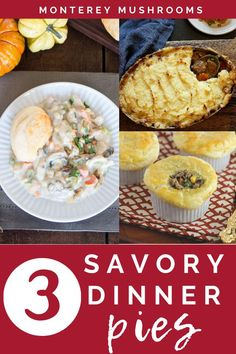Savory pies are where it's at for a delicious family friendly dinner! Check out three savory dinner pies in this recipe, including a lamb shephards pie, a mushroom and chicken pie in one pot, and mini chicken pot pies. Best Mushroom Recipe, Mushroom Recipes, Creamed Mushrooms, Stuffed Mushrooms, Beef Recipes, Chicken Recipes, Mushroom Side Dishes, Chili Mac And Cheese, Mushroom Appetizers