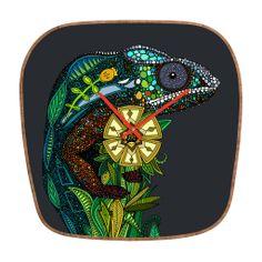 Sharon Turner Chameleon Pewter Modern Clock | DENY Designs Home Accessories #chameleon #clock #deny #denydesigns #scrummy #sharonturner #lizard #flower #home #gray #grey #gold
