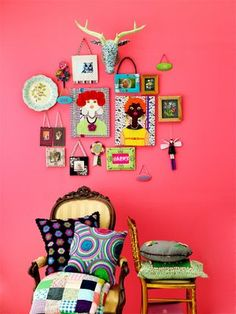 What a cute and eclectic little composition! Great way to help pink walls grow with your child, most tween/teens would love this look!