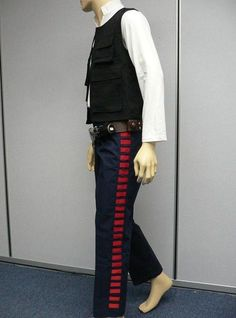 "Side view Han Solo Costume **Clear view of shirt collar height / sleeve length & start to stop of ""bloodlines""**"