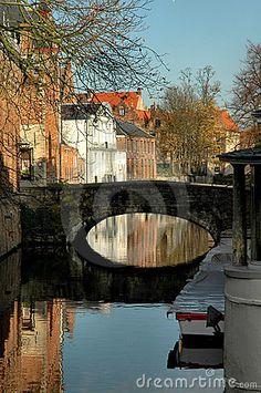 bridge in belgium | Bridge Along Canal In Brugges, Belgium Stock Photography - Image ...
