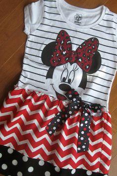 Minnie Mouse Dress Disney Upcycled Tee Shirt Black White Red Chevron Polka Dots Girls 4 5 6 6x on Etsy, $29.50