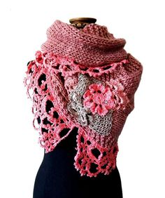 THIS IS HOW A MORE YOUTHFUL PERSON WOULD PUT IT ON...LOVE IT....NIDO II- handknitting and crochet lace cover shoulders wrap poncho twisted mobius cowl - in pink - (I09/028)