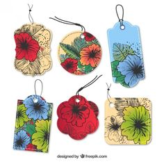 Floral hanging tags Free Vector