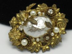 Vintage Signed MIRIAM HASKELL Baroque Pearl Brooch from atouchofrosevintagejewels on Ruby Lane