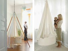 Hanging crib, though I'd rather it look like one of those granny planters on a porch so you can pretend your kid sprouted out of it :) Hanging Bassinet, Hanging Cradle, Hanging Crib, Chic Nursery, Girl Nursery, Girl Room, Cute Baby Girl, Baby Love, Crib Swing