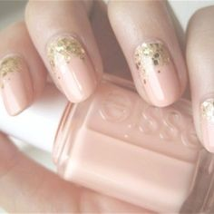 Nude + Glitter Nails.