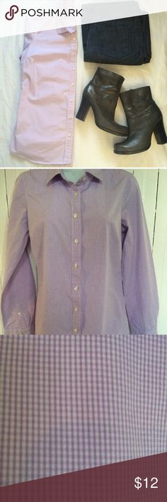 """J Crew Haberdashery Small button down J CREW HABERDASHERY WOMEN'S SMALL BUTTON DOWN PURPLE CHECK (SMALL PRINT) 100% COTTON MADE IN MAURITIUS ARMPIT TO ARMPIT 18"""", SHOULDER TO HEM 26"""", SLEEVES 23"""" J. Crew Tops Button Down Shirts"""