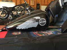 Reproduction Harley Davidson gas tank decals from the Hollywood Handmade Speed And Style Co on a custom shovel fxr