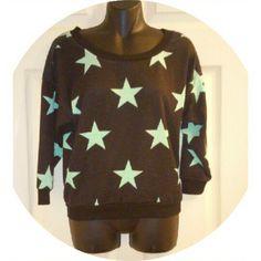 Star Print Top Mint & Black 9-25-15, light wear. Almost Famous Tops