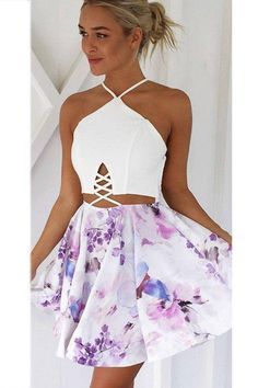 Sling Print Sexy Stitching Homecoming Dress,Sexy Halter Short Homecoming Dresses,Popular Mini Prom Dresses sold by SexyPromDress on Storenvy Sexy Homecoming Dresses, Hoco Dresses, Dance Dresses, Pretty Dresses, Sexy Dresses, Beautiful Dresses, Summer Dresses, Banquet Dresses, Wedding Dresses