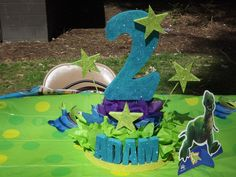 Birthday Party Centerpice, Made from Strofoam, tissue paper, Craft Paint and Glitter. Super Easy