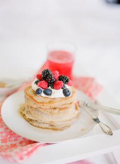 """<div>Get the recipe <a href=""""http://www.stylemepretty.com/living/2013/10/31/best-pancakes-ever/"""">here</a>!</div>"""