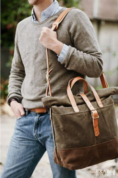 Men's Grey Suede Messenger Bag, Brown Leather Belt, Blue Jeans, Light Blue Longsleeve Shirt, and Grey Crew-neck Sweater