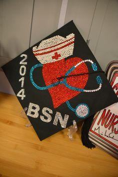 Nursing Graduation Cap made by mom. College Nursing, Best Nursing Schools, Nursing School Tips, Icu Nursing, Nursing Graduation Pictures, Nursing School Graduation, Graduate School, Graduation Cap Designs, Graduation Cap Decoration
