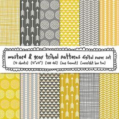 tribal patterns digital backgrounds, mustard yellow and gray digital paper, triangles arrows dots crosshatch, instant download - 425