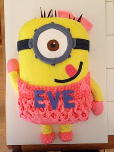 Girl minion cake for niece's birthday. #minion #girlminioncake