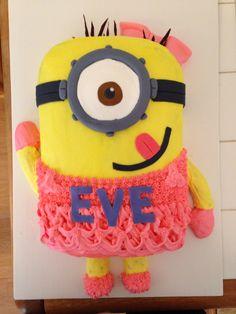 Girl minion cake for niece's birthday. #minion #girlminioncake