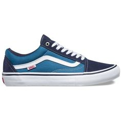 Vans Old Skool Pro (€53) ❤ liked on Polyvore featuring men's fashion, men's shoes, men's sneakers, shoes, blue, mens blue shoes, vans mens shoes and mens navy blue sneakers