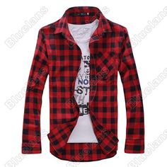 Discount China china wholesale New Mens Slim Fit Casual & Dress Plaid Check Shirt Korean Style Blue Red Black [30101] - US$12.49 : DealsChic