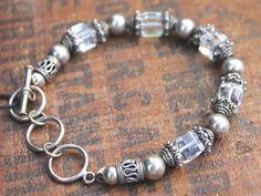 Silpada  Sterling Silver  & Swarovski Crystal Bracelet 7- 8  1/4 inches With Box #Silpada