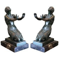 Le Faguays, Bronze Art Deco Sculpture, Bookends, 1930 | From a unique collection of antique and modern sculptures at https://www.1stdibs.com/furniture/decorative-objects/sculptures/