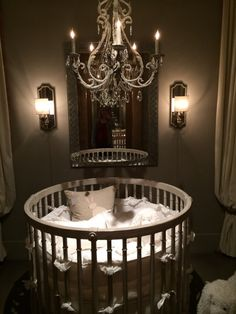 RH baby crib beautiful - love this chandelier