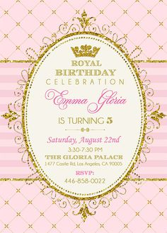 Royal Princess Invitation Princess Party by EniPixels on Etsy Royal Princess Birthday, Sleeping Beauty Party, Pink Gold Party, Princess Birthday Invitations, Printable Baby Shower Invitations, Birthday Parties, Shabby Chic, Party Party, Ideas Party