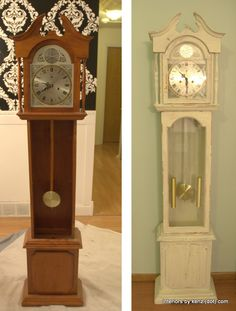 White Grandfather Clock makeover - Milk Paint Review