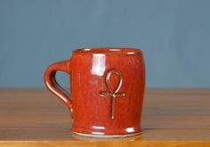 Red Ceramic Ankh Mug, Hand Thrown Porcelain Pottery, Coffee Cup, Beer Stein, Sake, Espresso, Teacup, Unique Gift, Mom | Caldwell Pottery