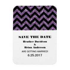 Chevron Glitter Save the Date Magnet, Purple Flexible Magnet