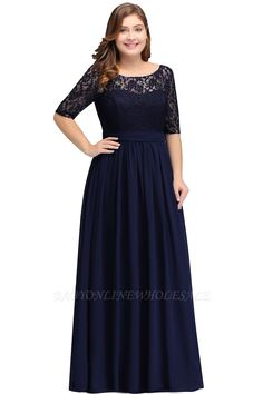 856420230a2b IVANNA   A-Line Scoop Half Sleeves Long Navy Blue Plus size bridesmaid  Dresses with Lace