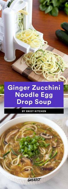 Ginger Zucchini Noodle Egg Drop Soup
