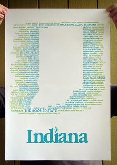 Indiana! This would be awesome for my Midwest gallery wall :)  |  love the mentions of Santa Claus, St. Meinrad Archabbey, and Butler University