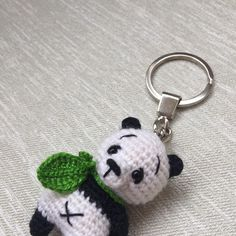 girl accessories Excited to share the latest addition to my shop: Small turquoise Panda bear key chain / gift for woman or girl/ Accessory for keys, bag or backpack Crochet Panda, Crochet Toys, Tiny Panda, Little Panda, Crochet Pincushion, Crochet Keychain Pattern, Moving Gifts, String Crafts, Crochet Snowflakes