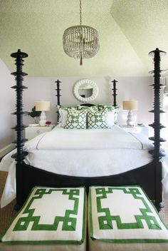 Greek Key design on Stool cushion repeated on pillow fabric (and ceiling) | Jenny Wolf Interiors