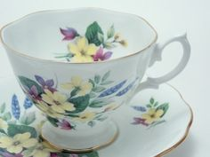 Royal Albert Purple Yellow Blue Flowers Tea Cup by TheVintageFind1