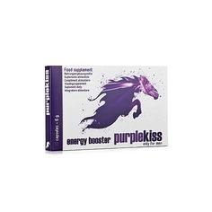 PURPLE KISS FOR MEN 10 CAPS. Purple Kiss puede mejorar el rendimiento, la resistencia y la excitación. Los ingredientes principales son Guaraná, L-Carnitina y una variedad de vitaminas y minerales concentrados. Como efecto secundario también aumenta la espermatogénesis. El zinc contribuye a la función cognitiva normal. El ácido pantoténico ayuda a disminuir el cansancio y la fatiga. Tomar 1 capsula al día (no exceder la dosis diaria recomendada). Contiene 10 capsulas.