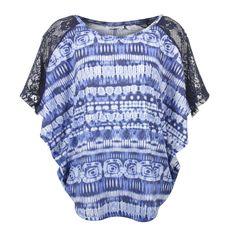 Allison Brittney Women's Tie Dye Short Sleeve Shirt. Blue, size large