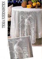 Филейное вязание: Филейная скатерть с цветами и павлинами