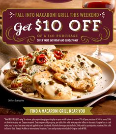 Pinned September 13th: $10 off $40 today at #MacaroniGrill restaurants #coupon via The #Coupons App Grill Restaurant, Restaurant Marketing, Macaroni, Coupons, Restaurants, Grilling, September, App, Chicken