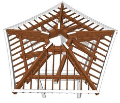 Interior Design: Hip Roof For A Rustic House With Wooden Beams . Roof Design, House Design, Townhouse Exterior, Japanese Pagoda, Gazebos, Gazebo Plans, Roof Trusses, Hip Roof, Wood Joinery
